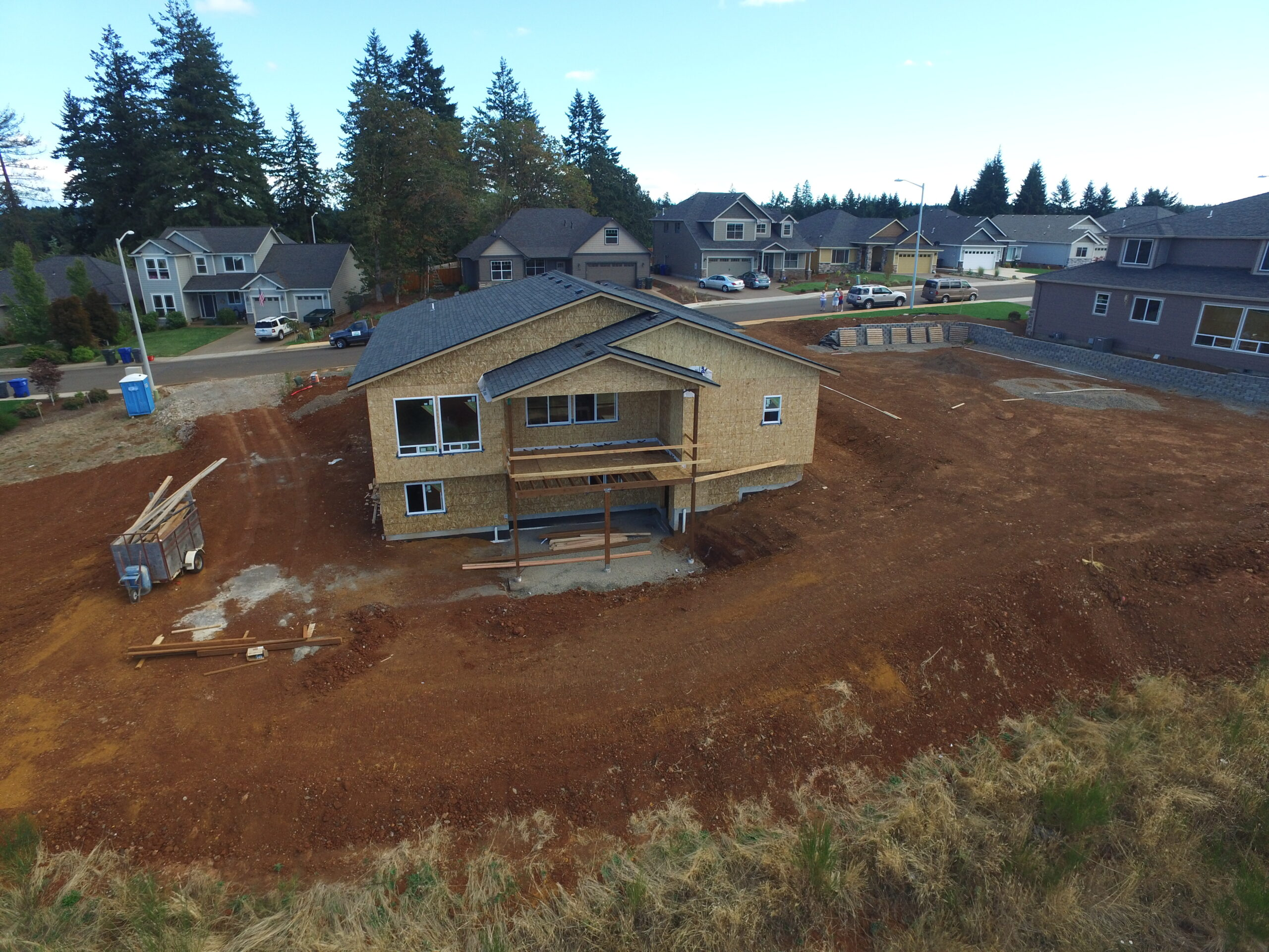 Aerial view of new home construction.