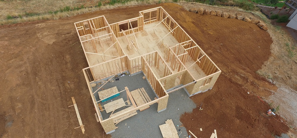 Aerial view of home construction