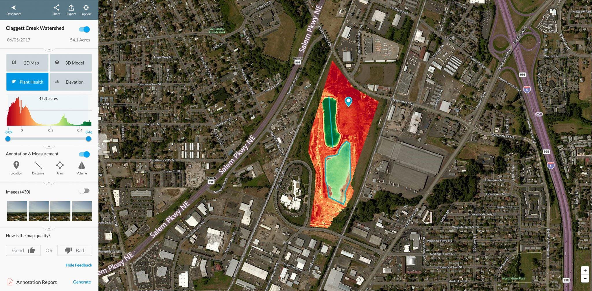 Screenshot of aerial visual map